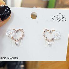 50090耳钉式, 心形, 植物, 平面/立体几何图形心形 花 珠子