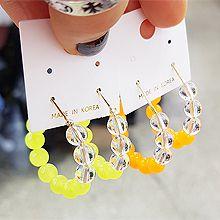 50117耳圈耳扣, 平面/立体几何图形圆形 珠子 透明