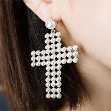50173耳钉式, 十字架十字架 珠子 不对称