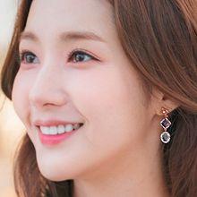 50214耳钉式明星款 韩剧 她的私生活 朴敏英 菱形 椭圆形 花纹