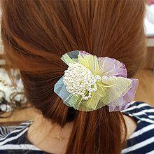 50298发圈发绳, 植物, 平面/立体几何图形花 网纱 圆形 珠子