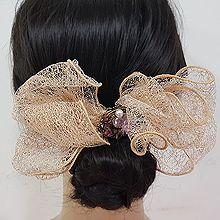50276边夹顶夹, 蝴蝶结, 植物, 平面/立体几何图形花 圆形 蝴蝶结 网纱 弹簧夹