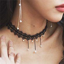50136绳子形, 单层链蕾丝 珠子 流苏