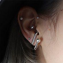 50405耳钉式, 平面/立体几何图形不对称 后挂式 圆形 珠子