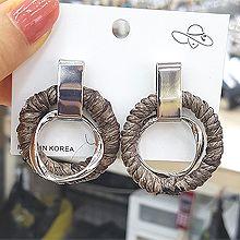 50418耳钉式长方形 圆环 编织