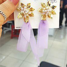 50474耳钉式, 蝴蝶结, 植物花 珠子 蝴蝶结