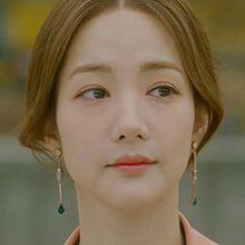 50519耳钉式, 平面/立体几何图形长方形 水滴形 不对称 朴敏英同款 明星款 韩剧 她的私生活