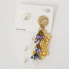 50530耳钉式, 植物, 平面/立体几何图形流苏 圆形 珠子 不对称 花