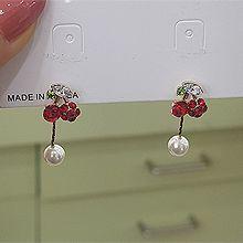 50543耳钉式, 植物, 食物/饮料珠子 后挂式 葡萄 樱桃