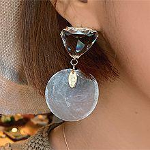 50571耳钉式, 平面/立体几何图形三角形 透明 圆形