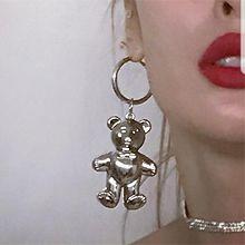 50582耳钉式, 耳圈耳扣, 动物熊 不对称
