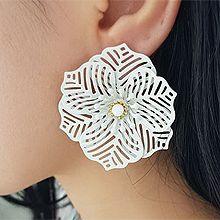 50603耳钉式, 植物, 平面/立体几何图形花 镂空