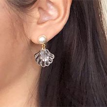 50669耳钉式, 平面/立体几何图形圆形 贝壳 珠子 透明