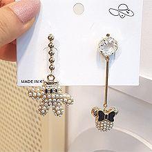 50702耳钉式, 动物小熊 米奇 圆形 不对称 珠子