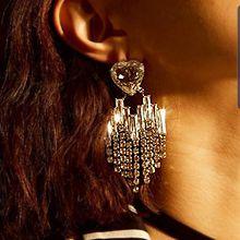 50757耳钉式, 心形心形 流苏 长方形