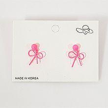 50762耳钉式, 蝴蝶结, 平面/立体几何图形圆形 蝴蝶结