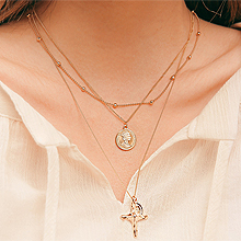 50621多层链, 十字架, 人物人体, 平面/立体几何图形圆形 十字架 2件套