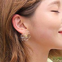 50915耳钉式, 耳圈耳扣, 植物, 平面/立体几何图形花 4件套 透明 圆环