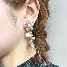 50922耳钉式, 植物, 平面/立体几何图形花 流苏 圆形 珠子