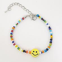 51065穿珠链, 单层链笑脸 彩色