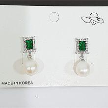 51105耳钉式, 平面/立体几何图形珠子 长方形 珍珠