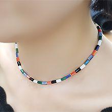 51031穿珠链, 单层链长方形 彩色