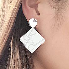 51206耳钉式, 字母数字/符号, 平面/立体几何图形菱形 圆形 字母LOVE