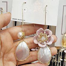 51216钩形, 植物水滴形 圆形 珍珠 不对称 天然贝壳