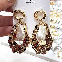 51225耳钉式圆环 椭圆形 珍珠 不规则形