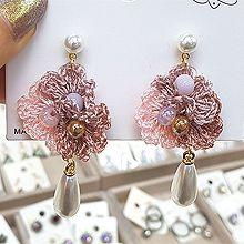 51250耳钉式, 植物花 珠子 珍珠 水滴形 编织