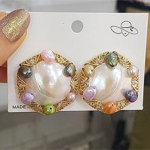 51278耳钉式圆形 珠子 天珍珠 天然贝壳