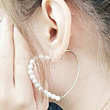 51290耳圈耳扣, 心形心形  珠子 珍珠