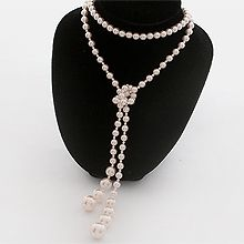 51134锁链形, 穿珠链, 多层链打结 珠子 双层