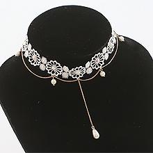 51301锁链形, 单层链, 植物蕾丝 珠子 珍珠 圆形 花 水滴形