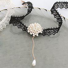 51304绳子形, 单层链珠子 珍珠 蕾丝 水滴形