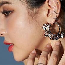 51353耳圈耳扣, 植物花 珠子 珍珠