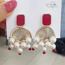 51411耳钉式珠子 珍珠 长方形