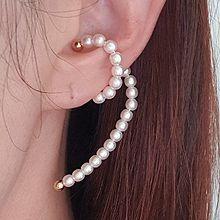 51435耳夹珍珠 圆形 珠子 耳夹 螺旋形