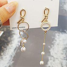 51439耳钉式圆形 珠子 珍珠 不对称 圆环 打结