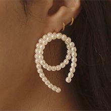 51488耳钉式圆环 珠子 珍珠 螺旋