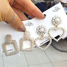 51530耳钉式, 心形, 植物心形 花 珍珠 珠子 正方形 椭圆形