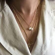 51320单层链人 圆形 珍珠 珠子 十字架