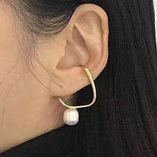 52430耳钉式, 耳夹珍珠 珠子 圆形 交叉
