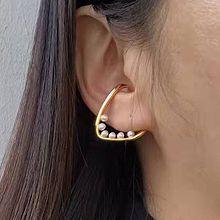 52431耳钉式, 耳夹珍珠 珠子 圆形 交叉
