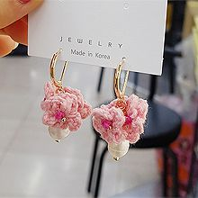 52440耳圈耳扣, 植物花 珠子 珍珠 圆形 编织