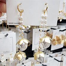 52447耳钉式, 植物花 珍珠 珠子 圆形