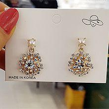 52449耳钉式, 植物珍珠 珠子 圆形 花