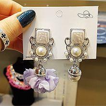 52516耳钉式不对称 花 珍珠 珠子 圆形