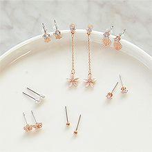 52538耳钉式, 植物, 平面/立体几何图形多件套 花 珠子 珍珠 圆形