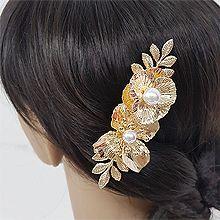 52544边夹顶夹, 植物花 珍珠 珠子 圆形 鸭嘴夹